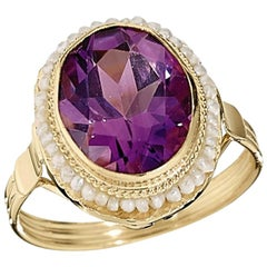 2.75 Carat Amethyst and Seed Pearl Ring Set in 14 Karat Yellow Gold Ring