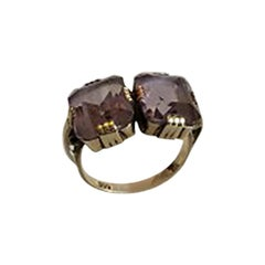 Gold Ring with Two Amethysts, 14 Karat