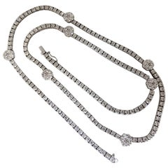 18.50 Carat Diamonds Cluster Necklace Station Yard 14 Karat