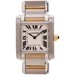 Cartier Ladies Yellow Gold Stainless Steel Tank Francaise Wristwatch, c2000