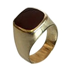 Gold Ring with Dark Red Stone 14 Karat