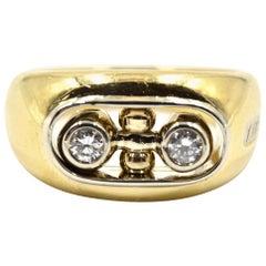 Baraka Alternating Spinning Middle Insert Diamond Ring 18 Karat Yellow Gold