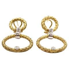 Daniel W. Woven 14 Karat Gold and 0.30 Carat Diamond Circle Dangle Earrings