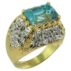 Blue Zircon, Diamond, and 18 Karat Gold Florentine Engraved Ring, Made in Italy