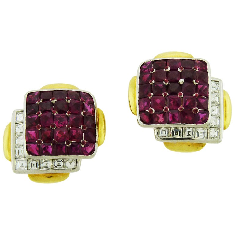 Ruby and Diamond 18K Yellow Gold & Platinum Clip-On Earrings by David Webb For Sale