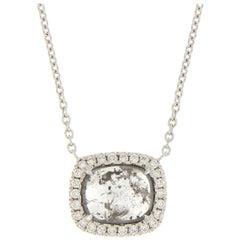 Grey Diamond Pendant Gold Necklace