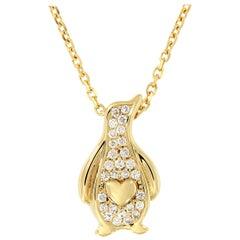 Diamond Penguin Pendant Gold Necklace