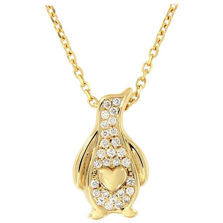 Diamond Penguin Pendant Gold Necklace For Sale