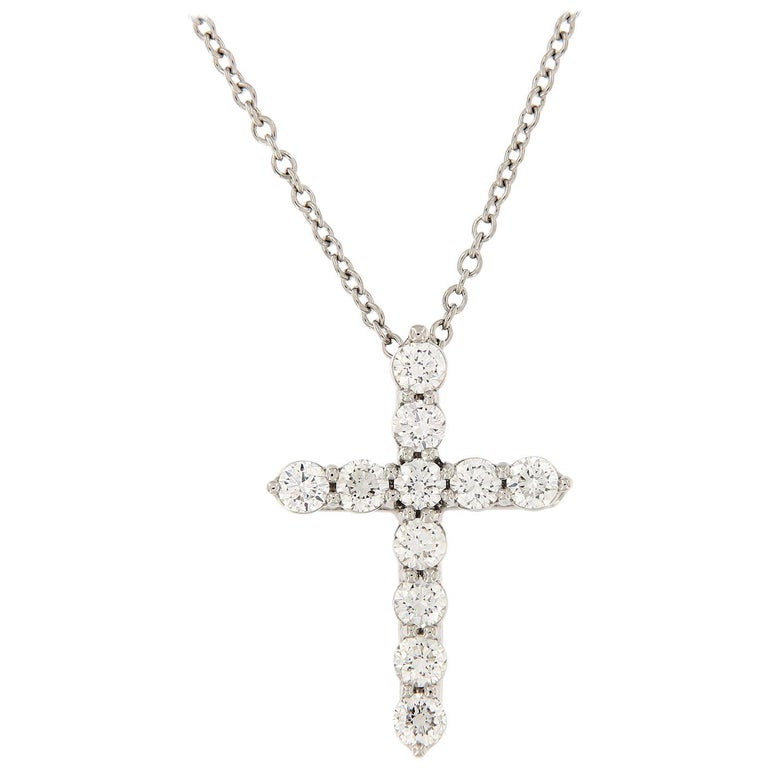 Diamond Cross Pendant Platinum Necklace
