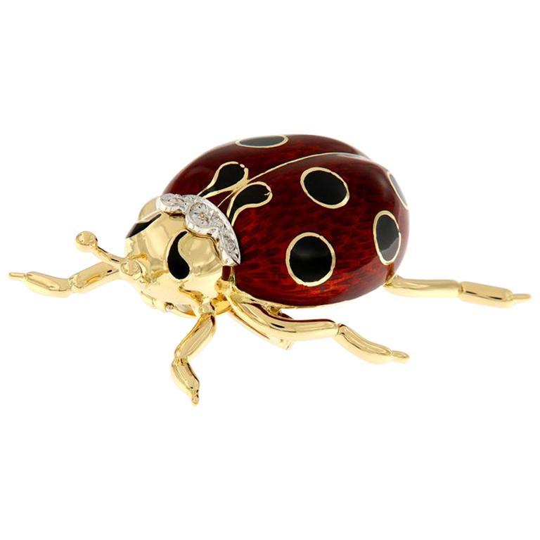 Italian Enameled Ladybug Diamond Gold Brooch
