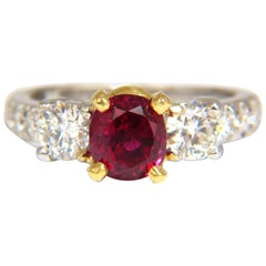"""GIA Certified 1.83ct oval cut """"pigeons blood"""" red ruby 1.02ct diamonds ring 18kt"""