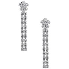 Pear Shape and Round Brilliant Diamond Drop Earrings