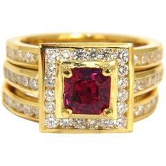 Gia Certified 1.51ct Rare Asscher Cut Vivid Red Ruby 2.00ct Diamonds Ring 18k