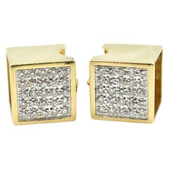 1.50 Carat Diamond Box Earrings 14 Karat Yellow Gold