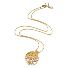 Coomi 20K Vine Coin Pendant with Rose Cut Diamonds on Chain