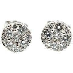 Diamond Cluster Stud Earrings 14 Karat White Gold
