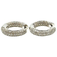 1.95 Carat Diamond Huggie Style Earrings 14 Karat White Gold