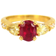 """GIA Certified 4.08ct natural """"vivid"""" red ruby diamonds ring 18kt fancy yellows"""