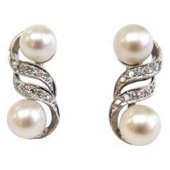 Vintage 1950s Double Pearl Cultured Earrings with Diamonds / 14 Karat White Gold