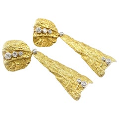 """PFM"" 18 Karat Yellow Gold and Platinum Diamond Drop Earrings"