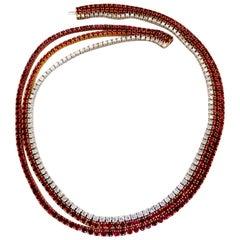 37.02 Carat Natural Vivid Red Ruby Diamonds Tennis Necklace Riviera Three Link