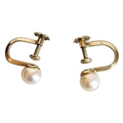 Ear Screws with Pearl and Gold