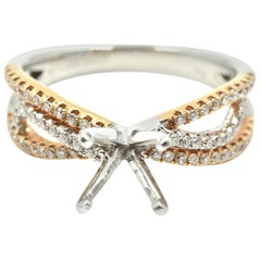 0.33 Carat Diamond 14 Karat White and Rose Gold Semi-Mount Engagement Ring