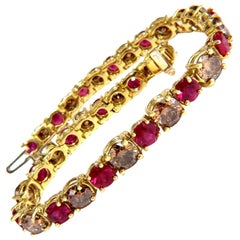 24.14ct Natural Fancy Cinnamon Brown Diamonds Red Ruby Bracelet 18kt Tennis