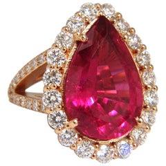 GIA Certified 14.15ct natural red tourmaline diamonds ring 18kt Rubellite
