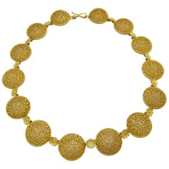 Buccellati 18 Karat Gold Open Works Filigree Round Necklace