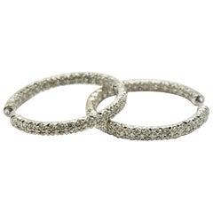 1.56 Carat Round Diamond Hoop Earrings 18 Karat White Gold