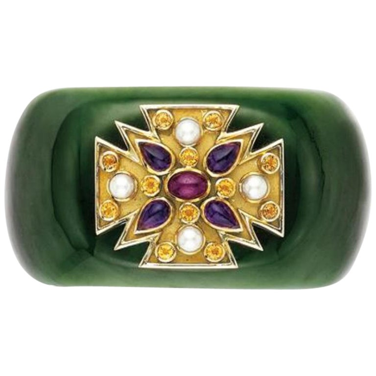 Verdura Green Jade and Gem-Set 'Maltese' Cuff Bracelet