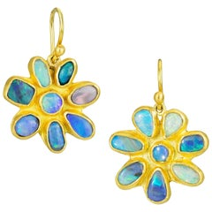 Stephanie Albertson Boulder Opal, 22 Karat Gold Blue Green Flower Earring