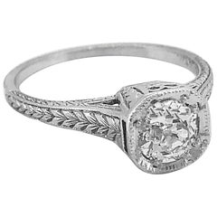 Art Deco .58 Carat Diamond Platinum Antique Engagement Ring