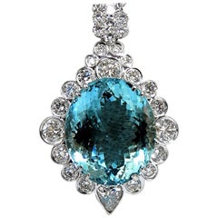 "GIA Certified 33.71ct. Natural ""Blue"" Aquamarine Diamonds necklace AvisDiamond"