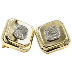 14 Karat Gold, 0.80 Carat Round Brilliant Diamond Cluster, Square Clip Earrings