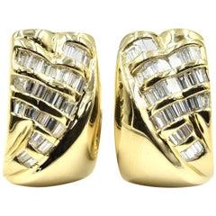 18 Karat Yellow Gold, 1.00 Carat Baguette Diamond Large Half-Hoop Earrings
