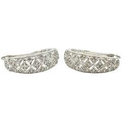 10 Karat White Gold, 0.25 Carat Single-Cut Diamond, Hinged Hoop Earrings