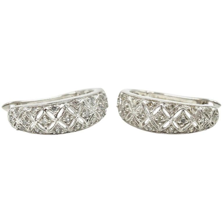 10 Karat White Gold 0 25 Carat Single Cut Diamond Hinged Hoop Earrings For