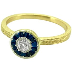 Antique Ring .20 Carat Diamond and 18 Karat Yellow Gold Art Deco, J35647