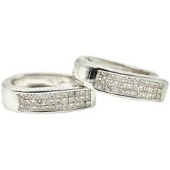 2.16 Carat Princess Cut Diamond Invisible Set Huggie Earrings 14 Karat Gold