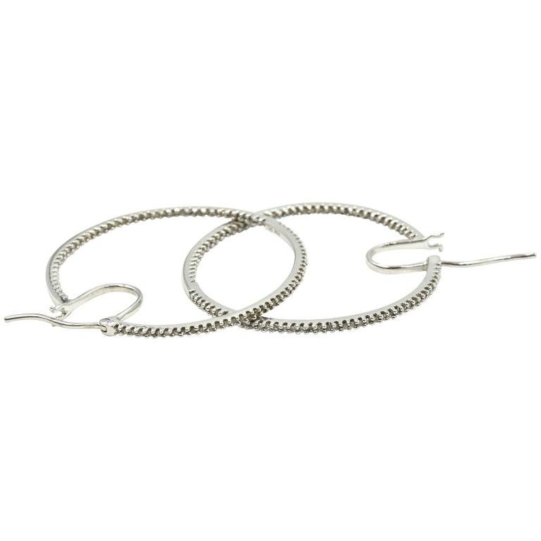 Diamond 10 Karat White Gold Hoop Earrings For Sale At 1stdibs