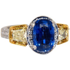 Swiss Dunaigre 5.66ct Natural No Heat Ceylon Sapphire Yellow Diamond Ring Plat