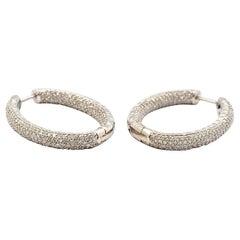 14 Karat Gold and 4.50 Carat Round Diamond Inside/Outsideoval Hoop Earrings