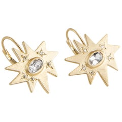 Emily Kuvin Gold and Half Carat Diamond Organic Star Lever Back Earrings