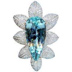 GIA Certified 69.37CT Natural Aquamarine Diamonds 3D Pendant Brooch 18KT