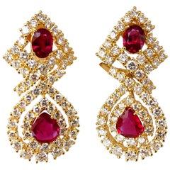 18.96 Carat GIA Certified Natural Red Ruby Diamond Dangle Earrings 18 Karat