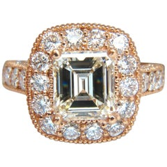 GIA 5.37 Carat Emerald Cut Diamond Ring 18 Karat Bridal Anniversary Halo Cluster