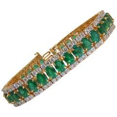 27.65 Carat Natural Vivid Green Emerald Diamond Bracelet F/VS 14 Karat Multirow