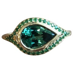 Pear Shaped 2.46 Carat Tourmaline and Tsavorite Pavé 18 Karat Gold Ring
